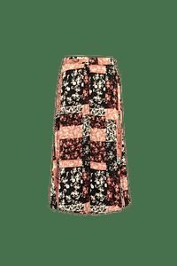 MS Mode Dames Doorgeknoopte rok met patchwork Roze-Huismerk - MS Mode