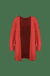 MS Mode Dames Lang openvallend vest Rood-Huismerk - MS Mode