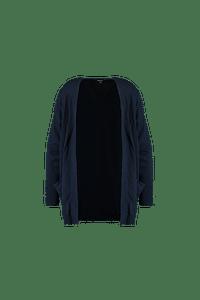 MS Mode Dames Lang openvallend vest Blauw-Huismerk - MS Mode