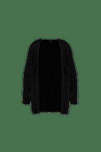 MS Mode Dames Lang openvallend vest Zwart-Huismerk - MS Mode