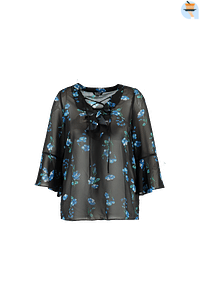 MS Mode Dames Blouse met volants en bloemenprint Blauw-Huismerk - MS Mode