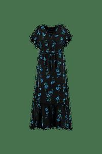 MS Mode Dames Lange jurk met volants Blauw-Huismerk - MS Mode