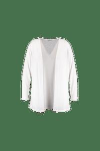 MS Mode Dames Lang openvallend vest Wit-Huismerk - MS Mode