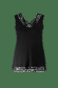 MS Mode Dames Mouwloze top met kant Zwart-Huismerk - MS Mode