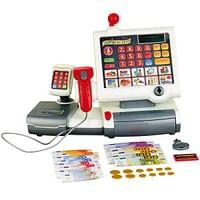 Supermarktkassa met scanner + PIN-apparaat-Klein