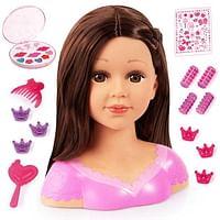 Charlene Super Model brunette kaphoofd met make-up-Bayer