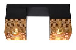 Lucide LED Plafondspot Renate 2 x E27 vierkant zwart / goud