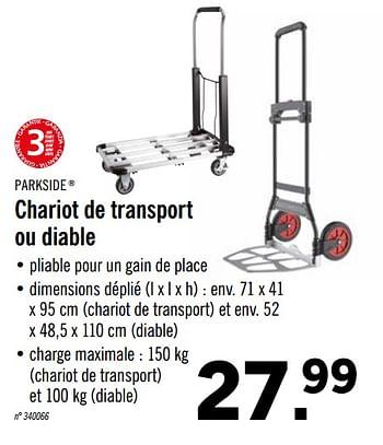 Promotion Lidl Chariot De Transport Ou Diable Parkside Bricolage Valide Jusqua 4 Promobutler