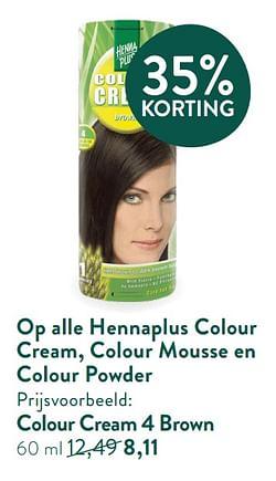 Op alle hennaplus colour cream, colour mousse en colour powder