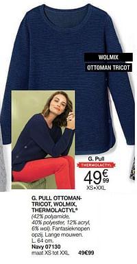Pull ottomantricot, wolmix, thermolactyl-Huismerk - Damart
