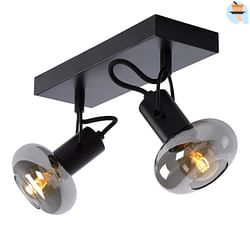 Lucide LED Spot plafond Madee 2 x E14 oblong noir / verre fumé