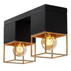 Lucide Plafonnier LED Rixt 2 x E27 carré noir / or