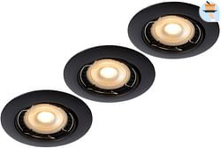 Lucide LED Spot encastrable Focus GU10 3 x 5 W ronde noir