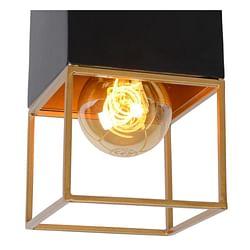 Lucide Plafonnier LED Rixt 1 x E27 carré noir / or
