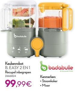 Badabulle keukenrobot b. easy 2 en 1 recupel inbegrepen