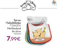 Set van 7 babyslabbetjes 7 dagen-King Bear
