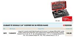 Cliquet et douille 1-4`` coffret de 38 pièces nano