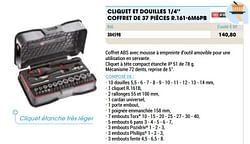 Cliquet et douilles 1-4`` coffret de 37 pièces r.161-6m6pb