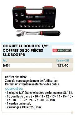Cliquet et douilles 1-2`` coffret de 20 pièces sl.dbox1pb