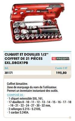 Cliquet et douilles 1-2`` coffret de 21 pièces sxl.dbox1pb