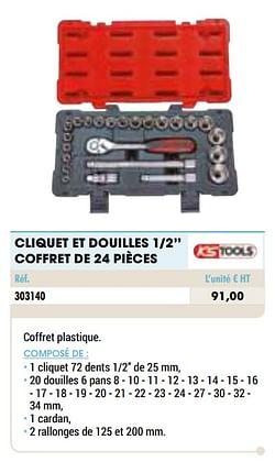 Cliquet et douilles 1-2`` coffret de 24 pièces