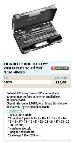 Cliquet et douilles 1-2`` coffret de 26 pièces s.161-4p6pb