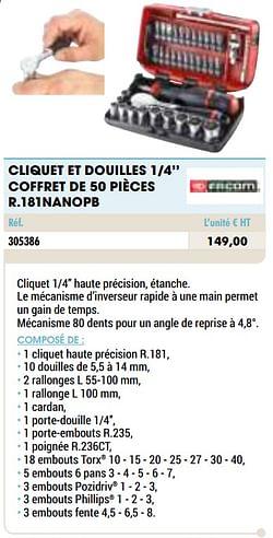 Cliquet et douilles 1-4`` coffret de 50 pièces r.181nanopb