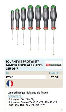 Tournevis protwist tamper torx atxr.j7pb jeu de 7