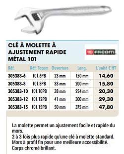 Clé à molette à ajustement rapide métal 101