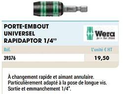 Porte-embout universel rapidaptor 1-4``