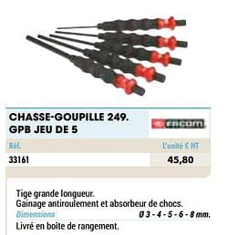 Chasse-goupille 249. gpb jeu de 5