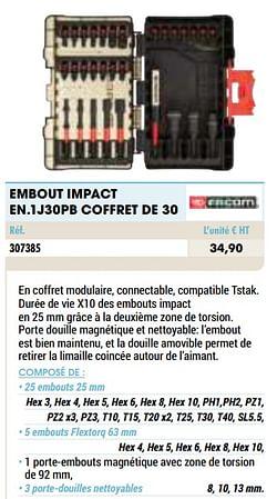 Embout impact en.1j30pb coffret de 30