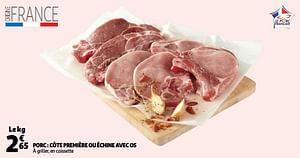 Porc côte première ou échine avec os