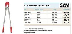 Coupe-boulon bras tube