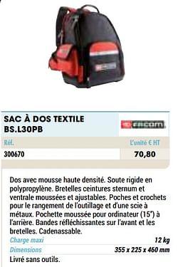 Sac à dos textile bs.l30pb