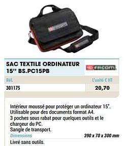 Sac textile ordinateur 15`` bs.pc15pb
