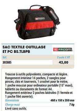 Sac textile outillage et pc bs.tlbpb