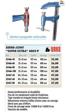 Serre-joint super extra 4003-p