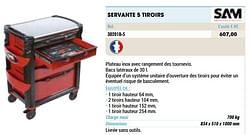 Servante 5 tiroirs