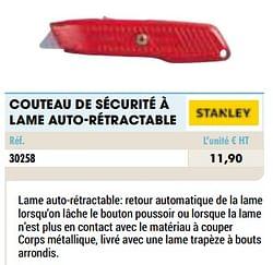 Couteau de sécurité à lame auto-rétractable