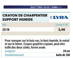 Crayon de charpentier support humide