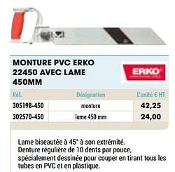 Monture pvc erko 22450 avec lame