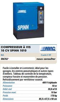 Compresseur à vis 10 cv spinn 1010