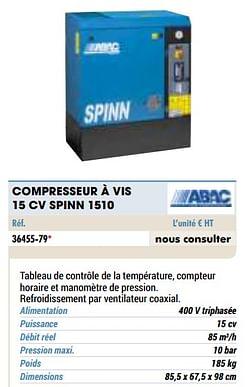Compresseur à vis 15 cv spinn 1510