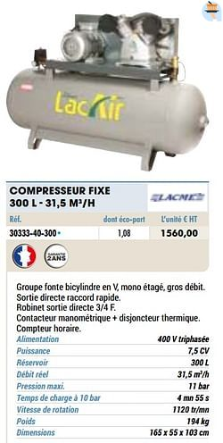 Compresseur fixe 300 l - 31,5 m3-h