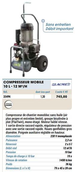 Compresseur mobile 10 l - 12 m3-h