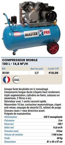 Compresseur mobile 100 l - 14,8 m3-h