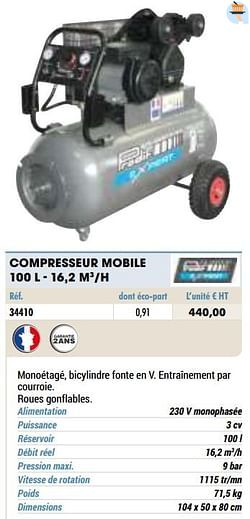 Compresseur mobile 100 l - 16,2 m3-h