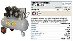 Compresseur mobile 100 l - 16,6 m3-h