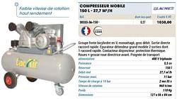 Compresseur mobile 150 l - 27,7 m3-h